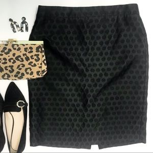 J.CREW The Pencil Skirt Black Contrast Dot Print